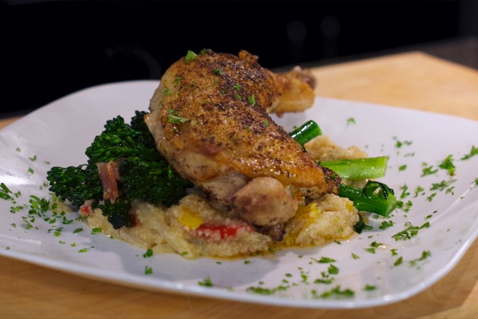 Cooking Today_ Spiced Chicken Legs with Grits & Sweet Baby Broccoli 1_862013143863673656