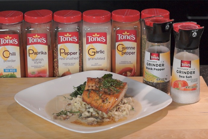 Cooking Today_ Salmon with Dill Sauce, Red Corn Risotto & Asian Broccoli_-2068292060778641142