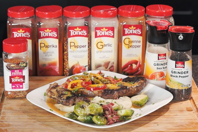 Cooking Today_ Peppered Steak with Pepper Sauce, Mashed Potatoes & Brussel Sprouts_85995257366072794
