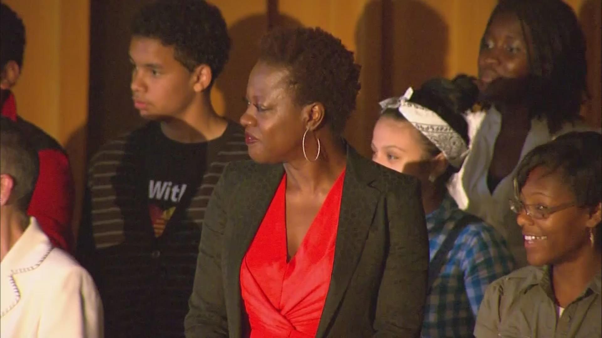VIDEO: Viola Davis inspires students in her hometown of Central Falls, Rhode Island