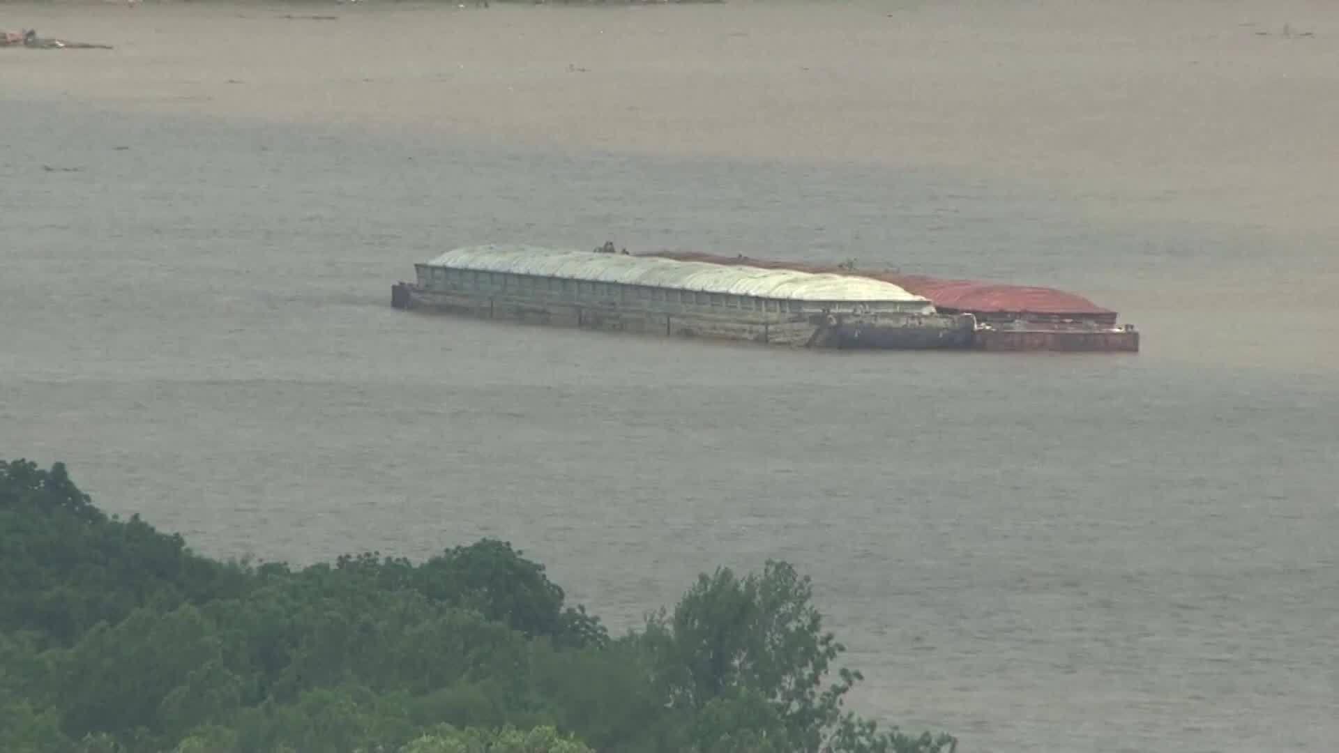 Barges loose on Arkansas River near Webbers Falls, Oklahoma headed toward Lock and Dam.