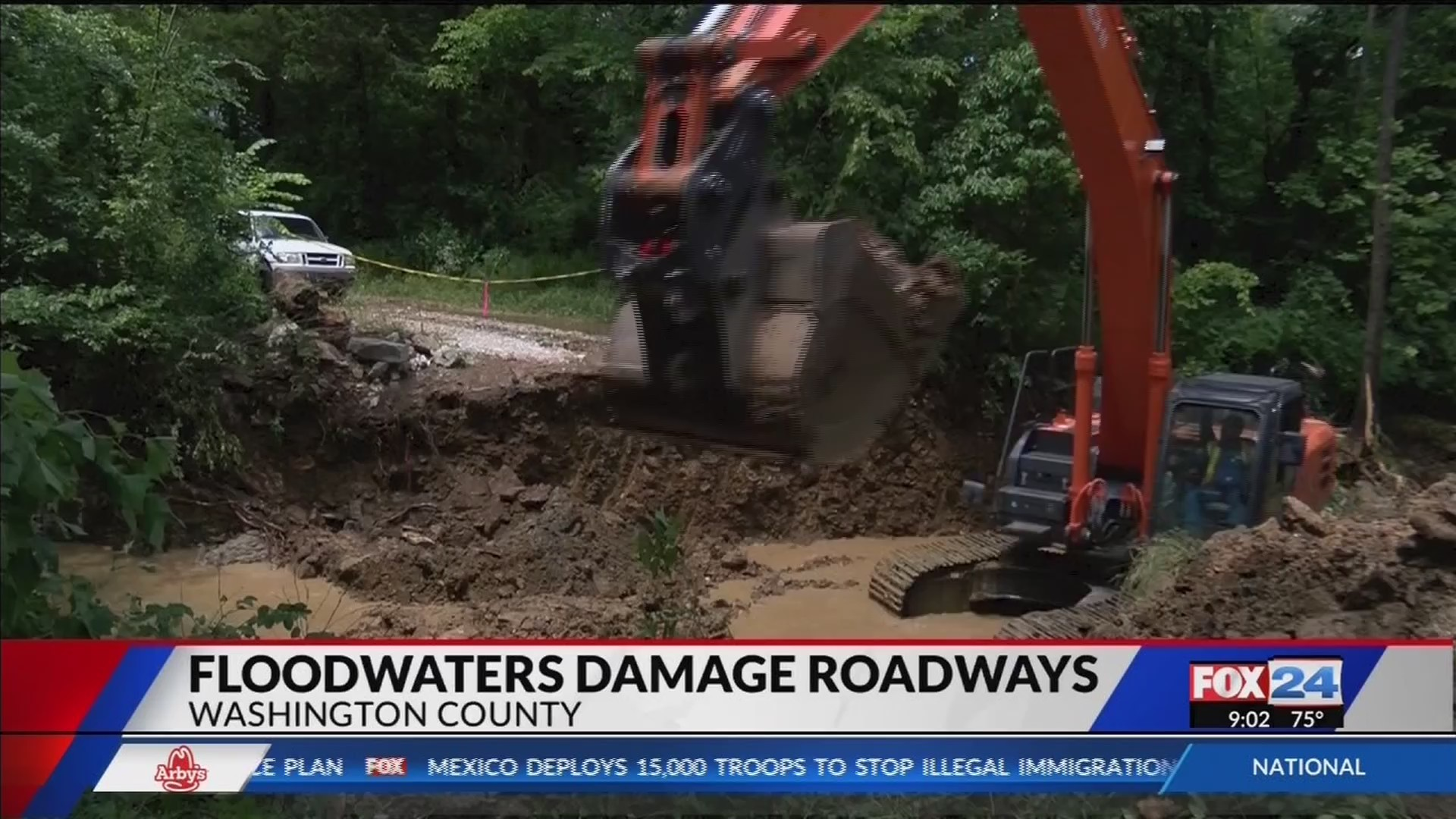 Floods damage roads in Washington County (Fox 24)