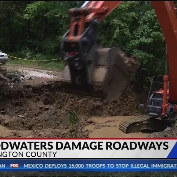 Floods damage roads in Washington County (Fox 24)