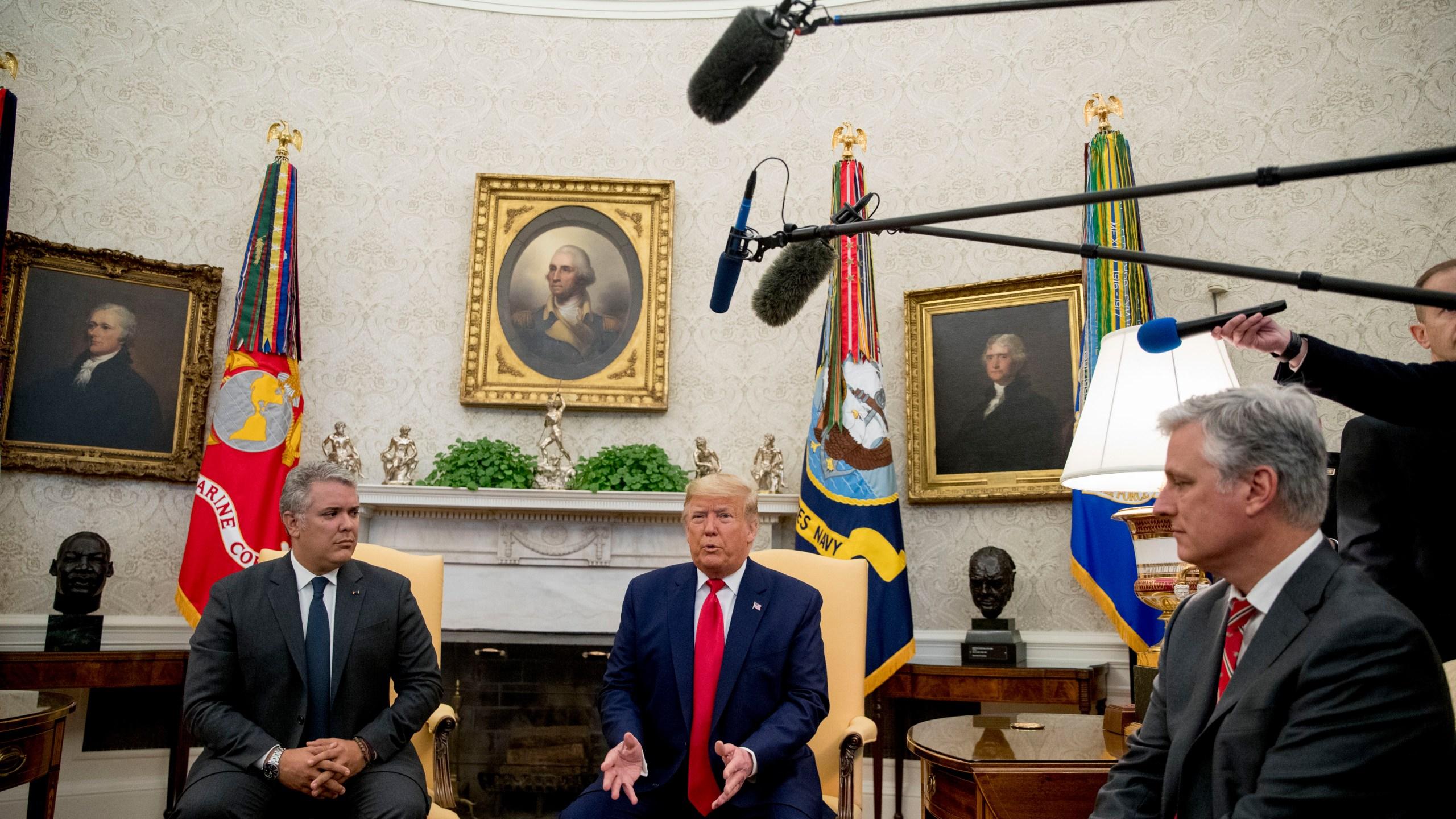 Donald Trump, Ivan Duque, Robert O'Brien
