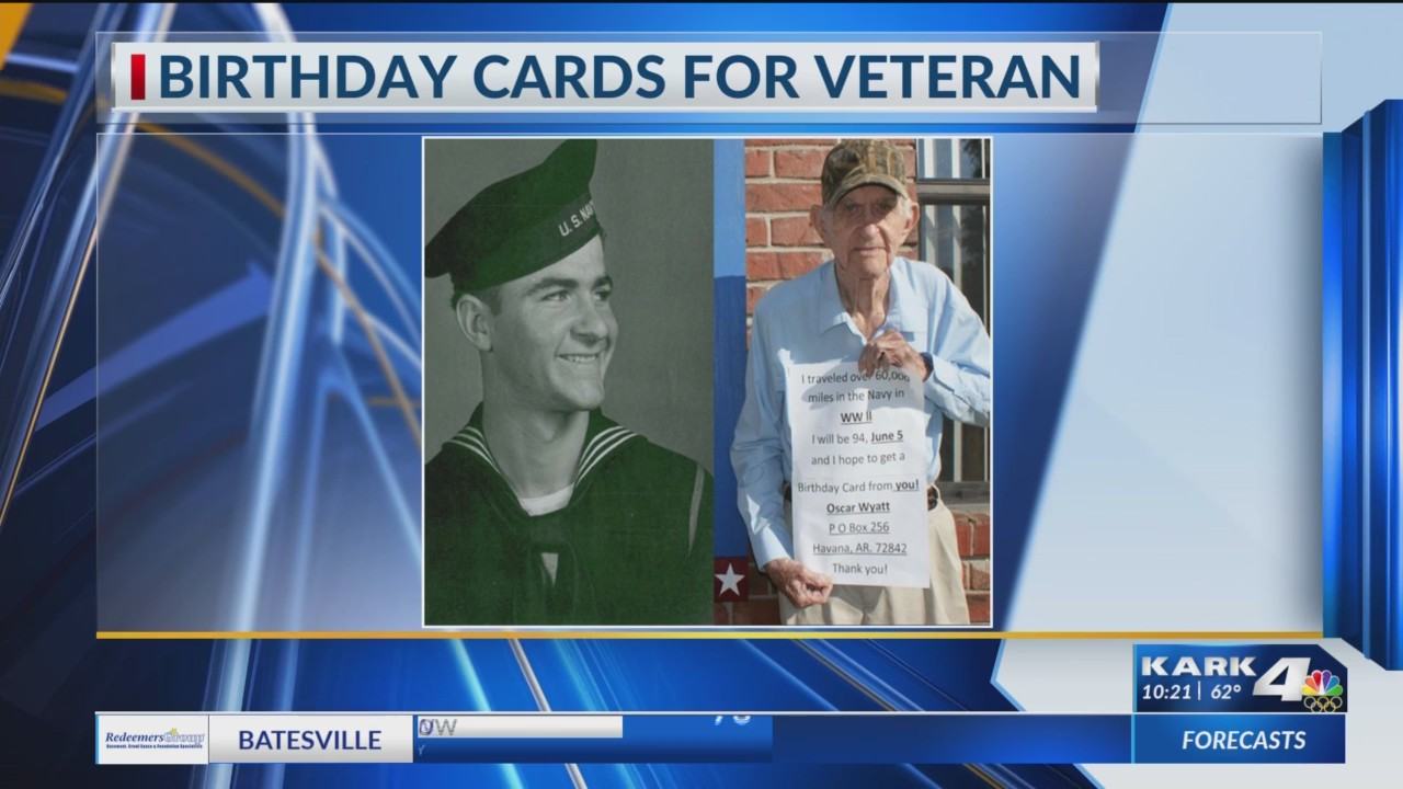 World War II veteran in Arkansas asking for birthday cards to celebrate his 94th