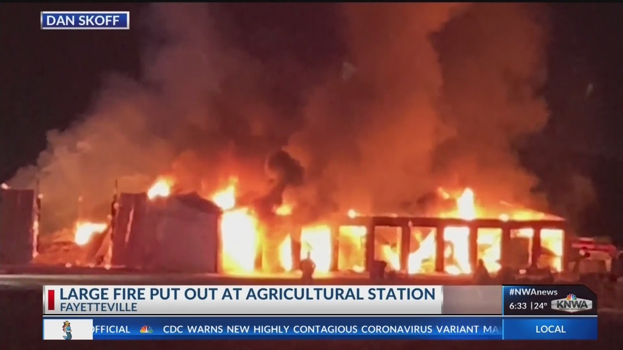 Crews respond to fire at University of Arkansas agricultural building